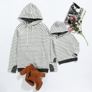 Stylish Hooded Stripe Long-sleeve Sweatshirt