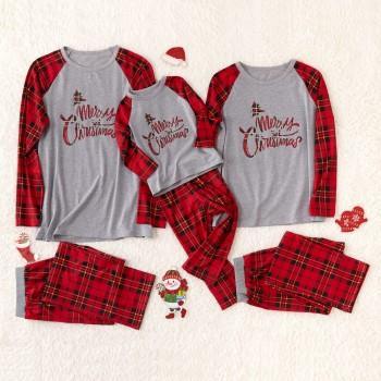 Plaid Merry Christmas Family Pajamas Sets