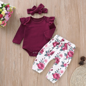 83b39cea569 Ruffle Crimson Romper and Floral Pants with Headband