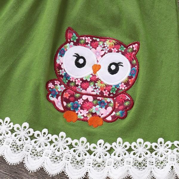 Owl Applique Lace Trimmed Floral Set