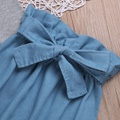 Ruffle Shoulder Romper Denim Pants with Headband