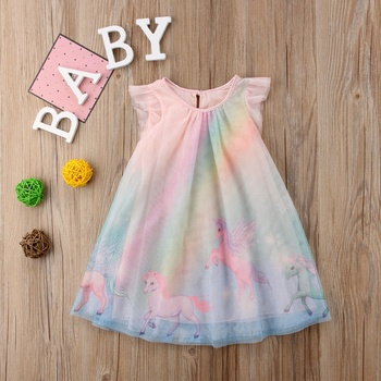 Gradient Unicorn Tulle Dress