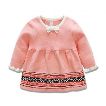 Bowknot Knitted Dress in Pink