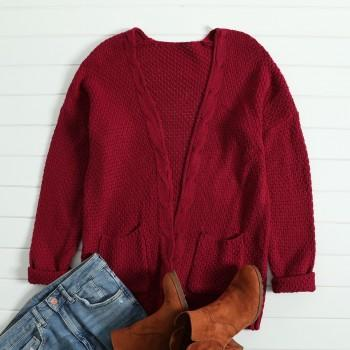 Stylish Solid Cable-knit Pockets Long Sleeves Sweater