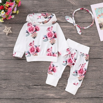 + 3-piece Trendy Flower Patterned Hoodie, Pants and Headband Set for Baby