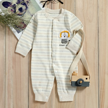 Lion Applique Striped Jumpsuit