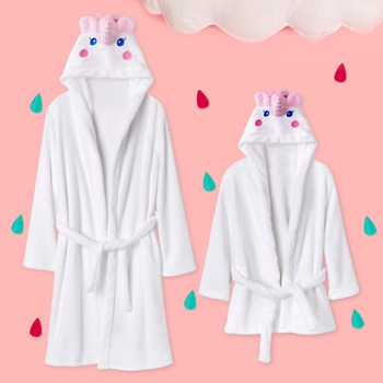 Adorable Mommy and Me Unicorn Design Hooded Pajama