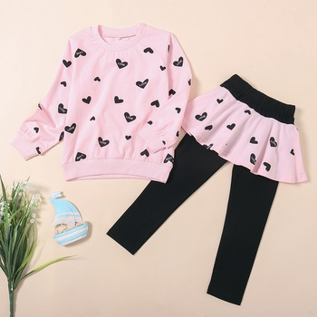 Two-piece Trendy Heart Print Top and Leggings Set