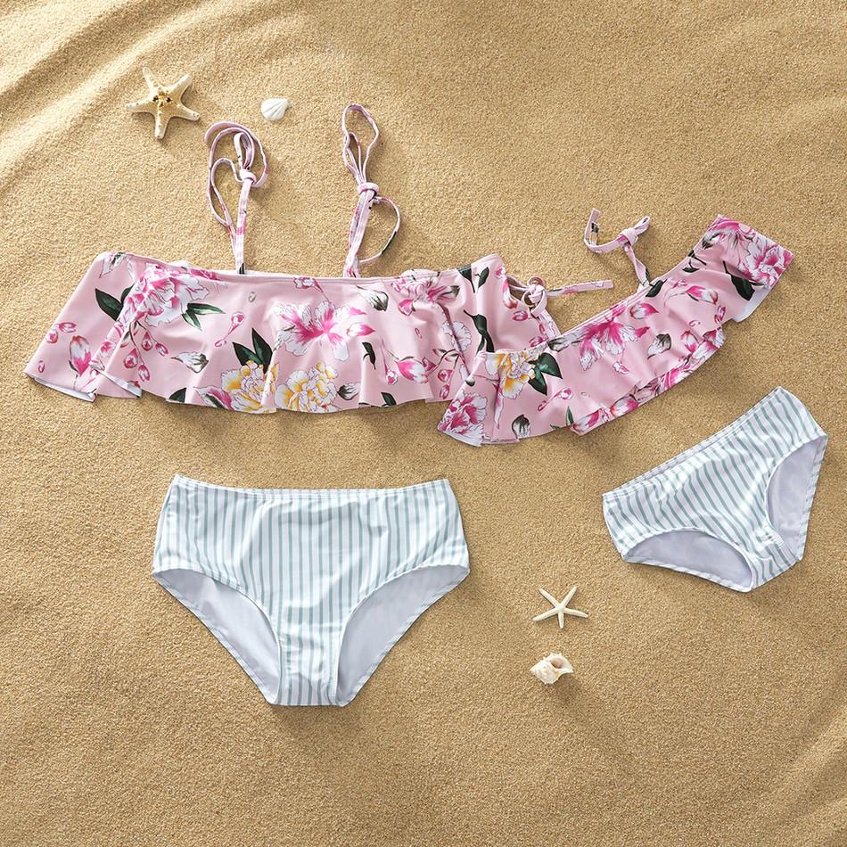 e3e905e805 2-piece Sweet Flounce Floral Off Shoulder Striped Swimsuit at PatPat.com