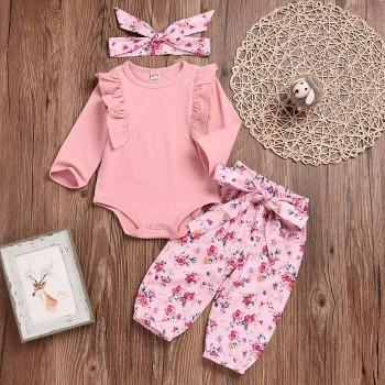3-piece Ruffle Floral Set in Pink