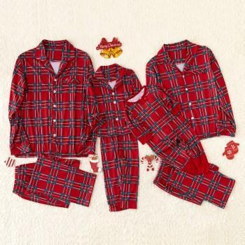 Plaid Lapel Family Pajamas Sets