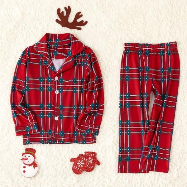 Plaid Lapel Family Pajamas Sets