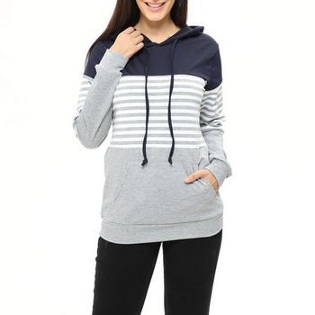 Maternity Stripe Color Block Long-sleeve Hoodie