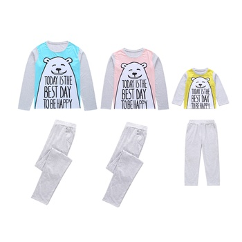 Cute Bear / Cat Patterned T-shirt and Pants Family Set