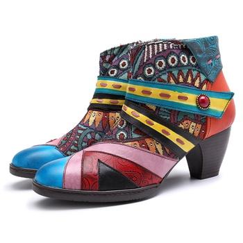 Retro Ethnic Pattern Zipper Ankle Boots