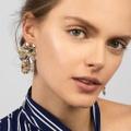 Trendy Floral Design Rhinestone Stud Earrings