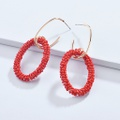 Colorful Beads Wrapped Oval Design Earrings