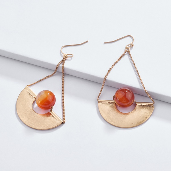 Pretty Beaded Semicircle Design Earrings