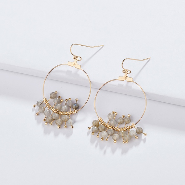 Stylish Beads Stud Round Hook Earrings