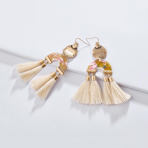 Trendy Tasseled Design Hook Earrings