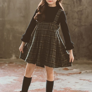 Beautiful Solid Long-sleeve Top and Plaid Suspender Skirt Set