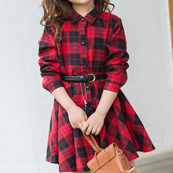 Sassy Plaid Long-sleeve Belted Dress