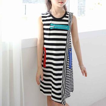 Casual Striped Zipper Design Sleeveless Dress