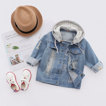 Boys Letter Printed Denim Hooded Jacket