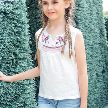 Fashionable Embroidered Tank for Girl
