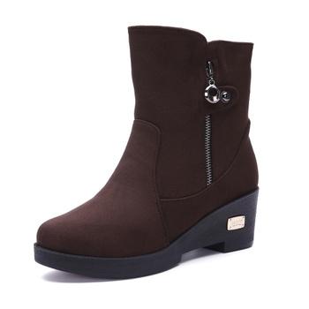Warm Plush Metal Decor Snow Boots