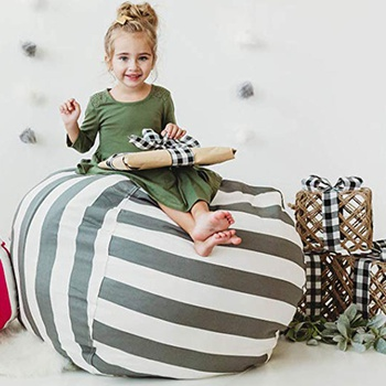 Creative Striped Zip-up Stuffed Storage Bean Bag
