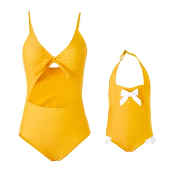 Mommy and Me Solid Yellow Swimsuits