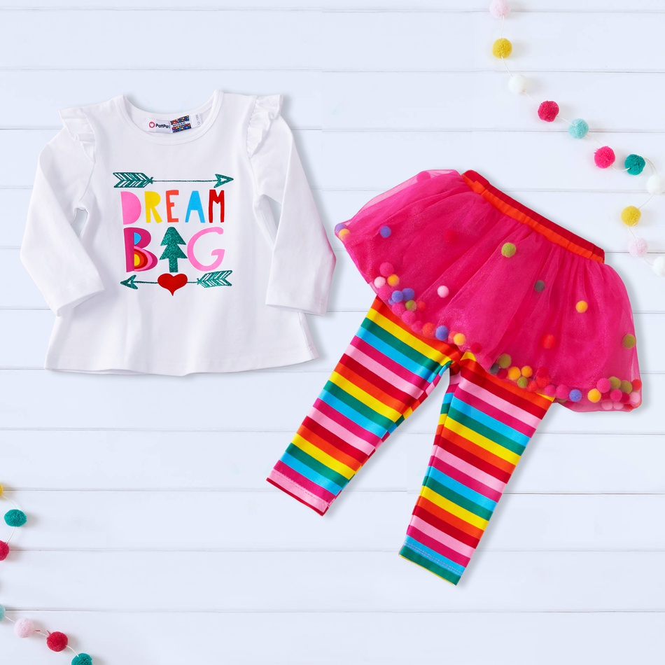 1c159403a Baby Mosaic Baby Girls 2 Pieces Ruffle Top Rainbow Stripe Culottes ...