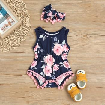 154b378945b Pretty Floral Pattern Bodysuit and Headband Set for Baby Girl