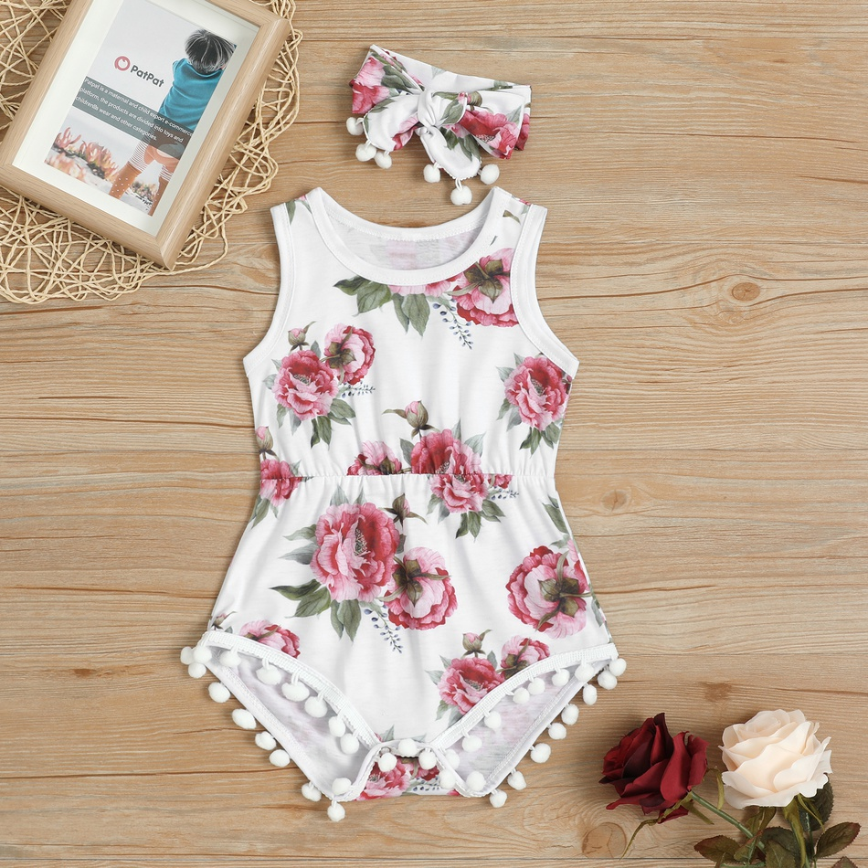 50b988077ce Pretty Floral Pattern Pompon Decor Bodysuit and Headband Set for Baby Girl