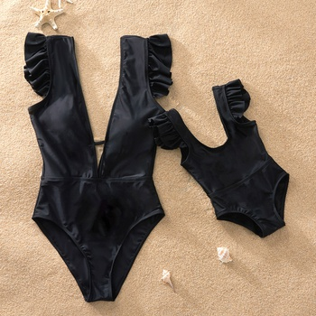 Pure Black Matching Swimsuit for Mom and Me