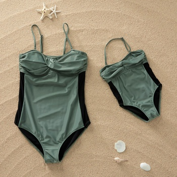 Pure Green Swimsuit for Mommy and Me