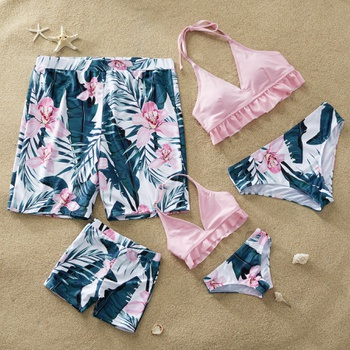 9319192dd5c Pink Flower Printed Family Matching Swimsuit