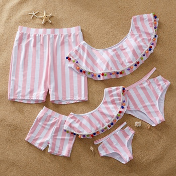 2-Piece Matching Swimsuit for Family with Special Decoration