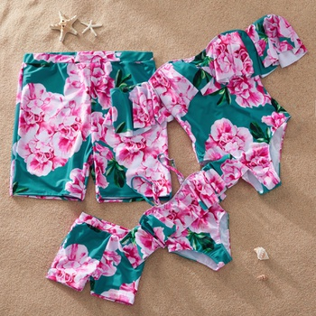 Off-Shoulder One-Piece Family Matching Swimsuit with Big Blossom