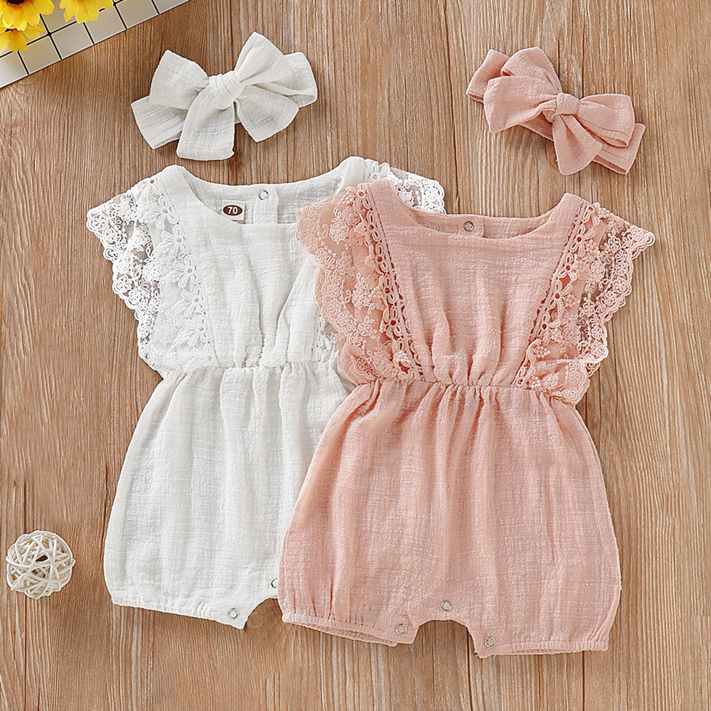 One-pieces Baby Newborn Baby Girl Vintage Cotton Floral Flutter Sleeve Jumpsuit 0-3 Years