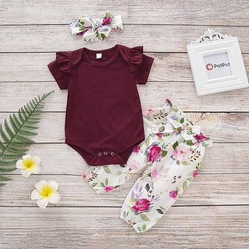 be402cb4543 3-piece Solid Ruffled Bodysuit and Floral Print Pants