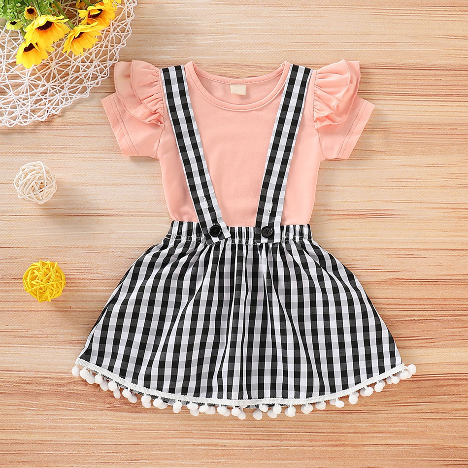 9db36f188 Solid Ruffle-sleeve Top and Plaid Strap Skirt Set for Baby / Toddler Girl