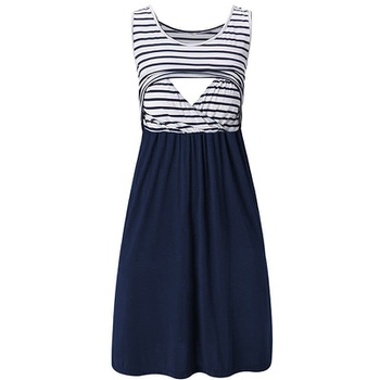Sassy Striped Sleeveless Nursing Dress