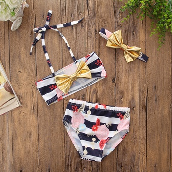 20b98ee80f 3-piece Baby / Toddler Halter Floral Print Swim Top, Shorts and Bowknot  Headband Set