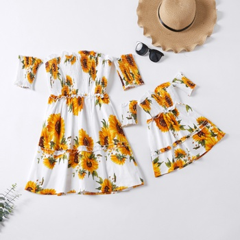 Sunflower Print Off-Shoulder Matching Dresses