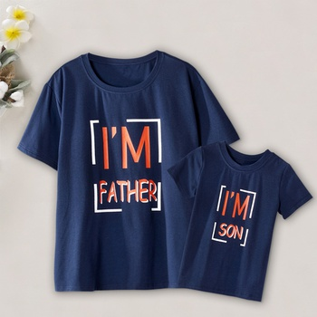 """""""I'm"""" Letter Print T-shirts for Daddy and Me"""