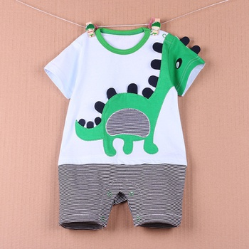 51d7ab971 Baby 3D Applique Animal Dinosaur, Cow or Dog Striped Bodysuit