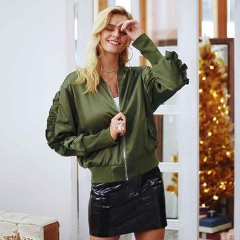 Casual Ruffled Zip-up Long-sleeve Jacket