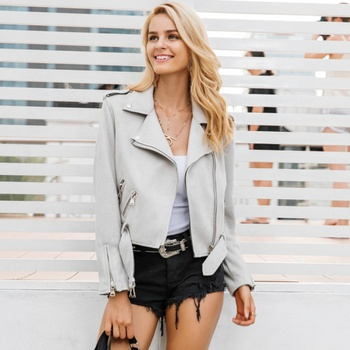 Fashionable Lapel Collar Suede Bomber Jacket